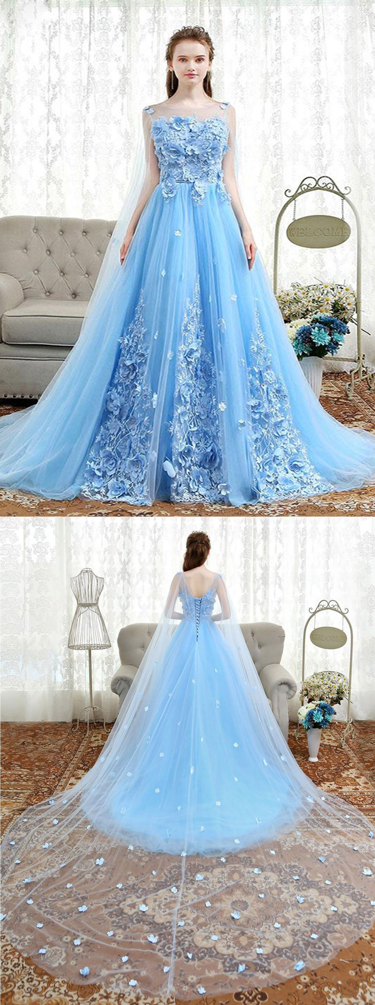 Fresh blue tulle 3D lace appliqués long sweet 16 prom dress, long ...