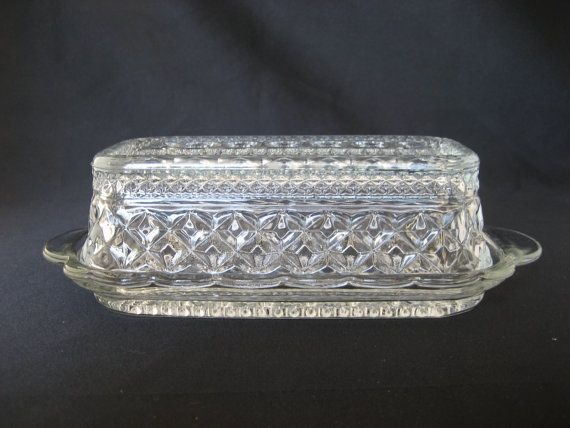 Vintage Clear Glass Butter Dish With Lid Covered Retro Glass Butter Stick Plate Anchor Hocking Lidded Mold Pressed Table Serving But Vintage Clear Glass Lidded