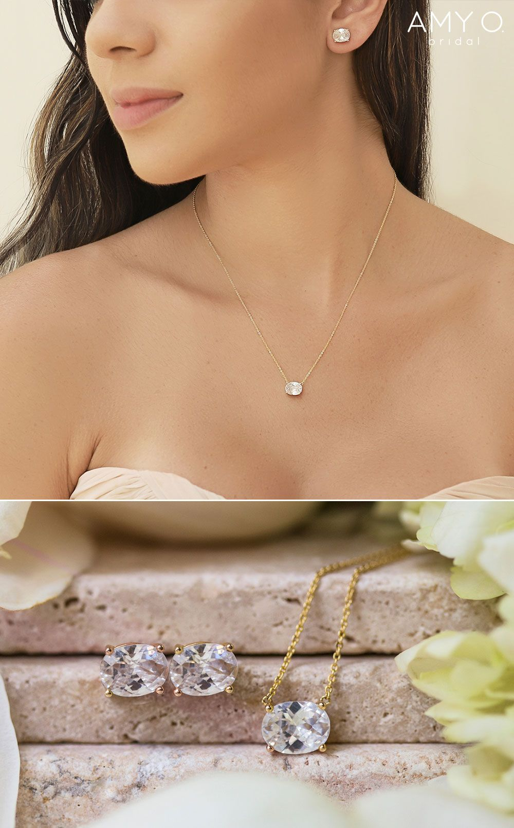 Wedding Jewelry for Brides Crystal Bridal Necklace and Earrings Set Classic Oval CZ Diamond Pendant and Studs