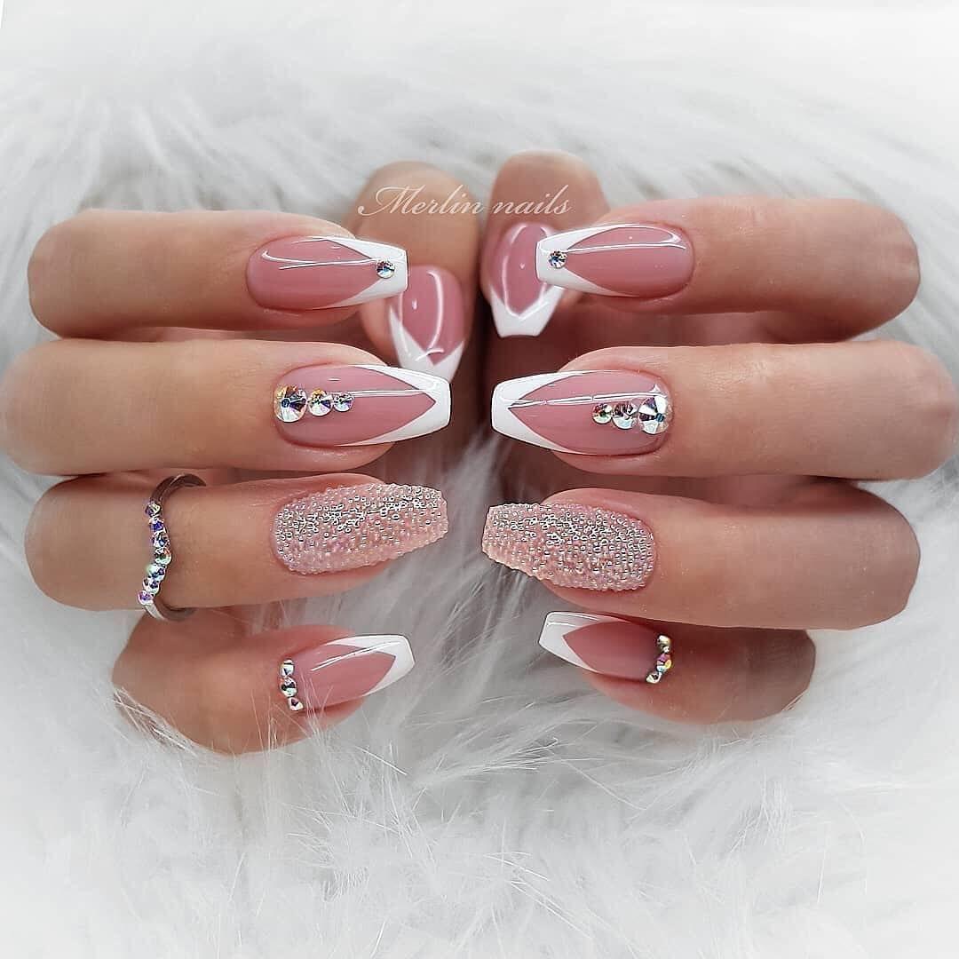 Nails Beauty On Instagram 1 4 Nails Nails Via Merlin Nails Nails Design With Rhinestones Elegant Nails Elegant Nail Designs