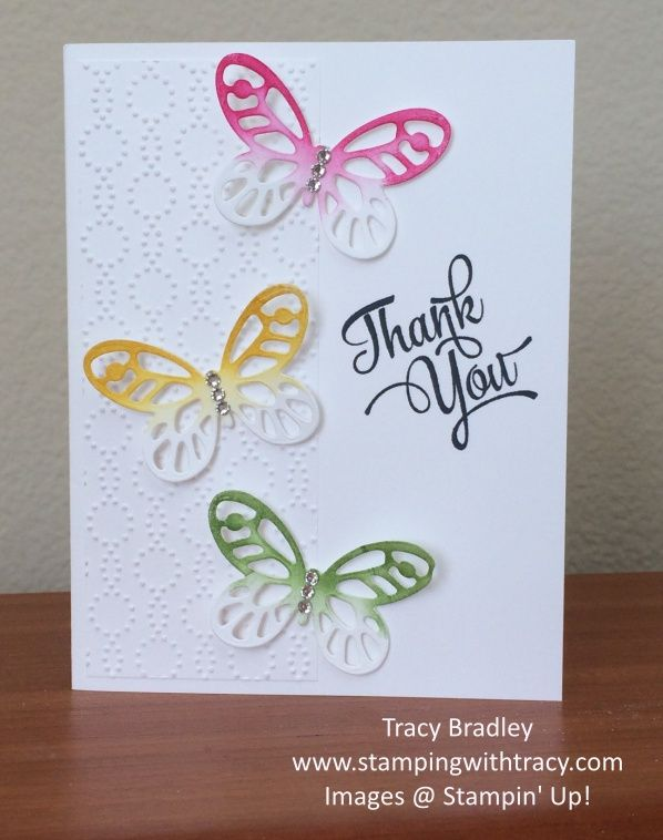 Butterfly Thank you card by Tracy Bradley using Stampin\u0027 Up - butterfly thank you cards