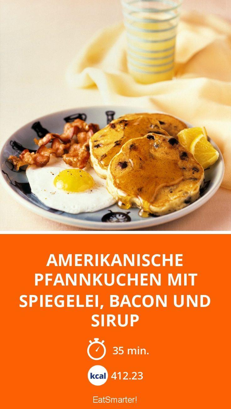 Amerikanische Pfannkuchen Mit Spiegelei Bacon Und Sirup Rezept In