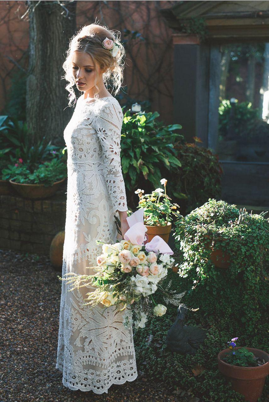 Dreamweaver Wedding Dresses Lace Sheath Wedding Dress Model Hair