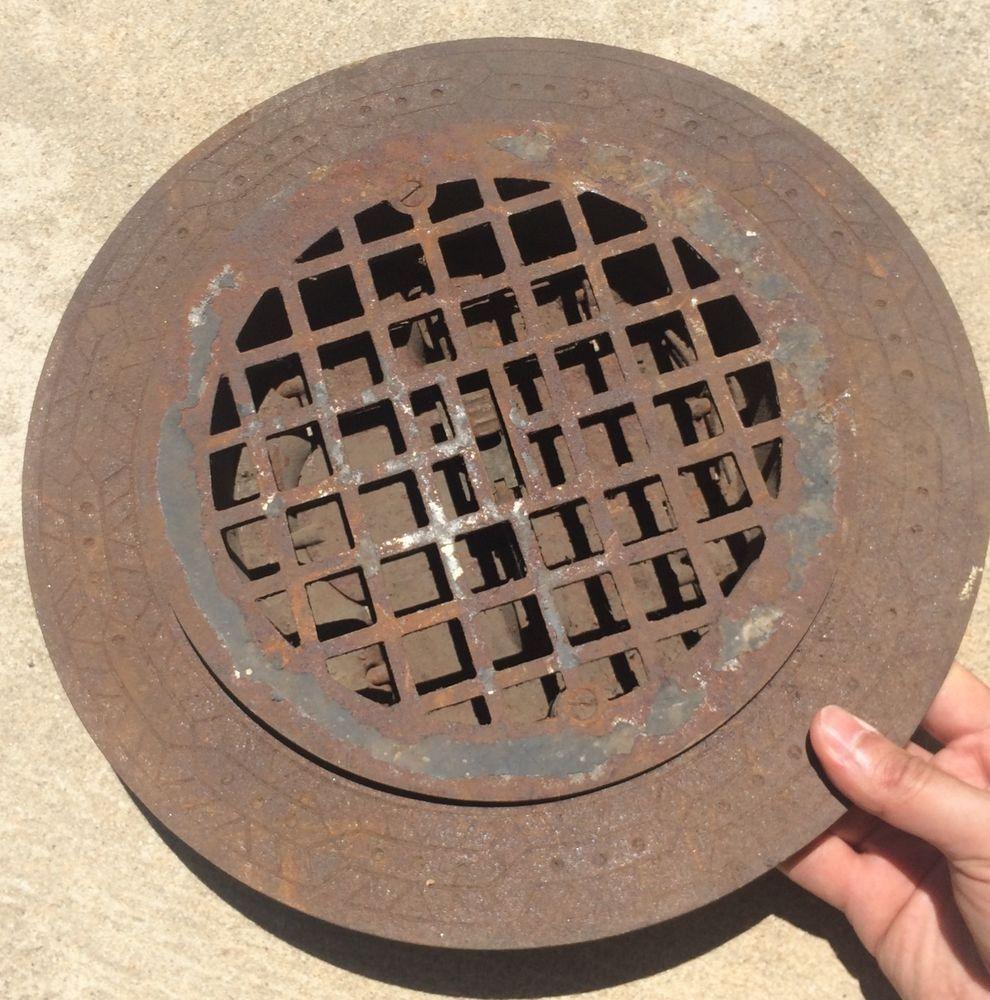 Decorative Grates Registers Stove Grate Antique Round Ornate Primitive Heat Register Cast Iron