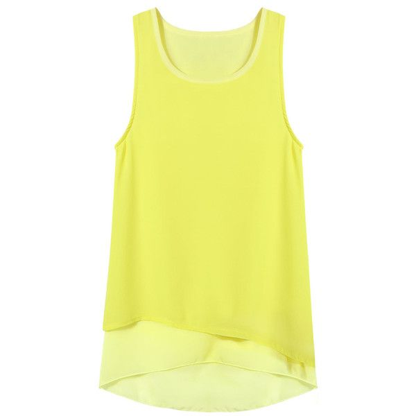 c6fd919801870 Yoins Layered Tank Top In Yellow ( 10) ❤ liked on Polyvore featuring tops