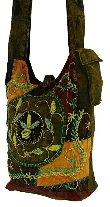 Batik Sadhu Bag , Hippie Tasche, Goa Schulterbeutel grün
