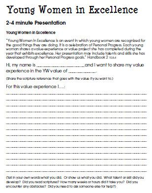 Young Women in Excellence Project Guide Outline for a 3-4 minute - presentation outline templates