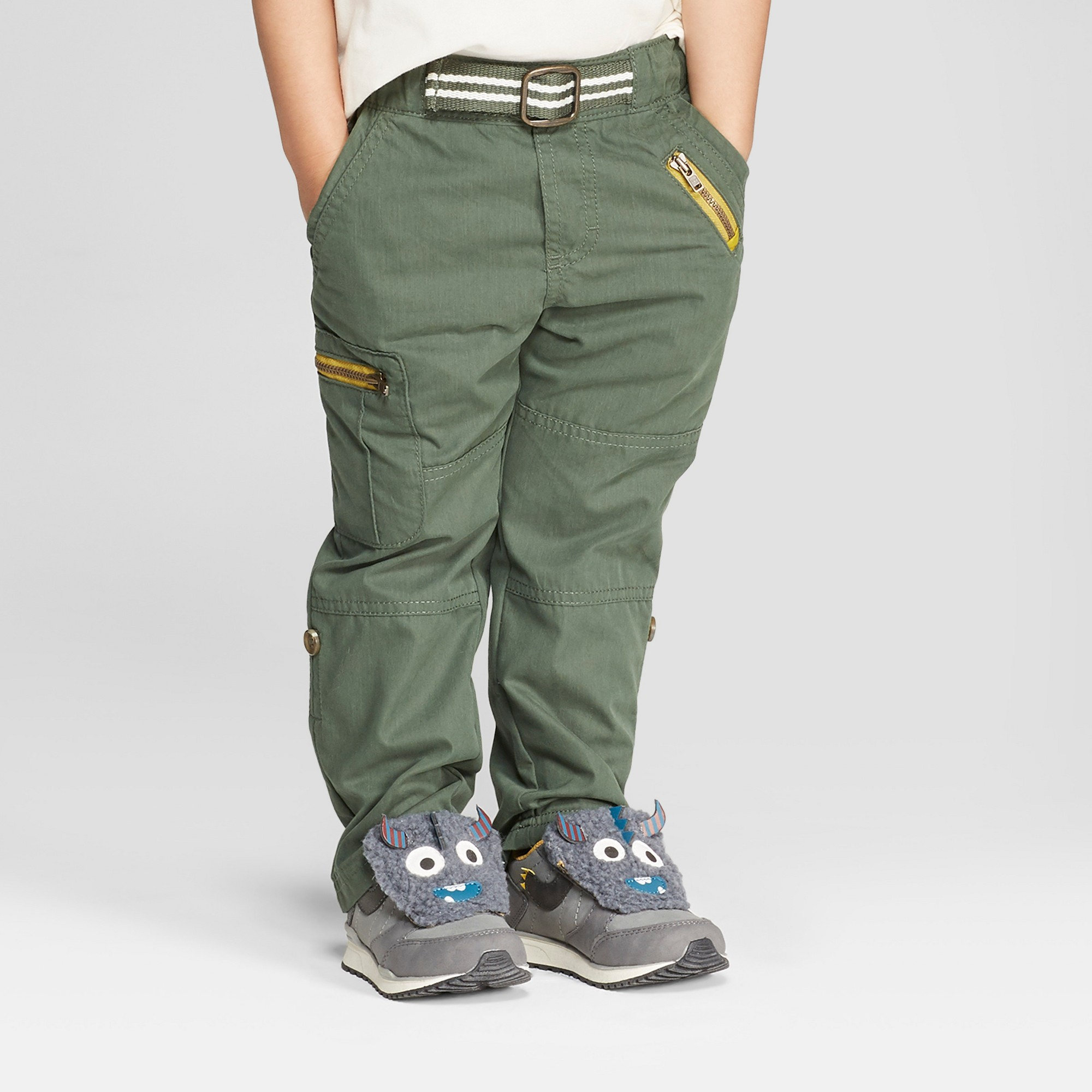 6bc869824 Genuine Kids from Oshkosh Toddler Boys' Cargo Pants with Built in Belt -  Green 12M