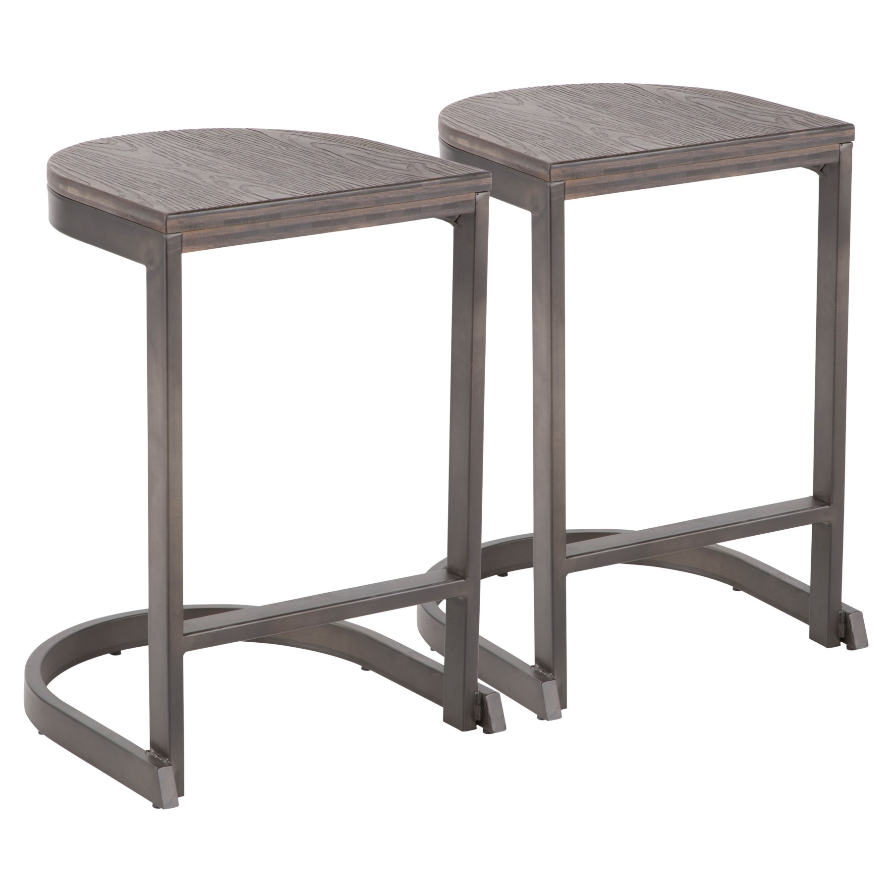Lumisource Demi 24 In Backless Counter Stool Set Of 2 White