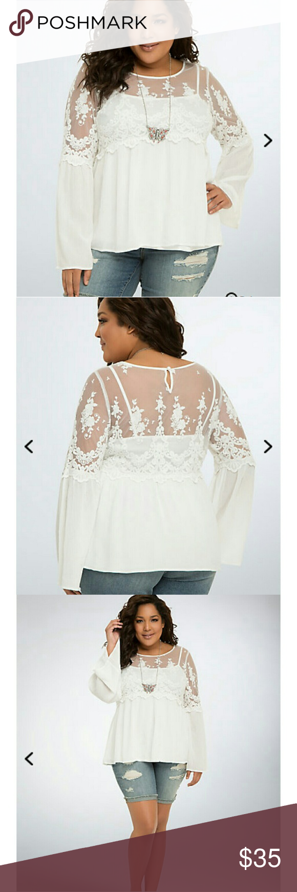 Torrid plus size white Mesh bell sleeve blouse PLEASE NOTE: this ...