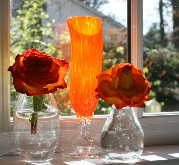 Deko Fensterbank Rosen Orange Glasvasen Elegant Modern Einrichtung Stil