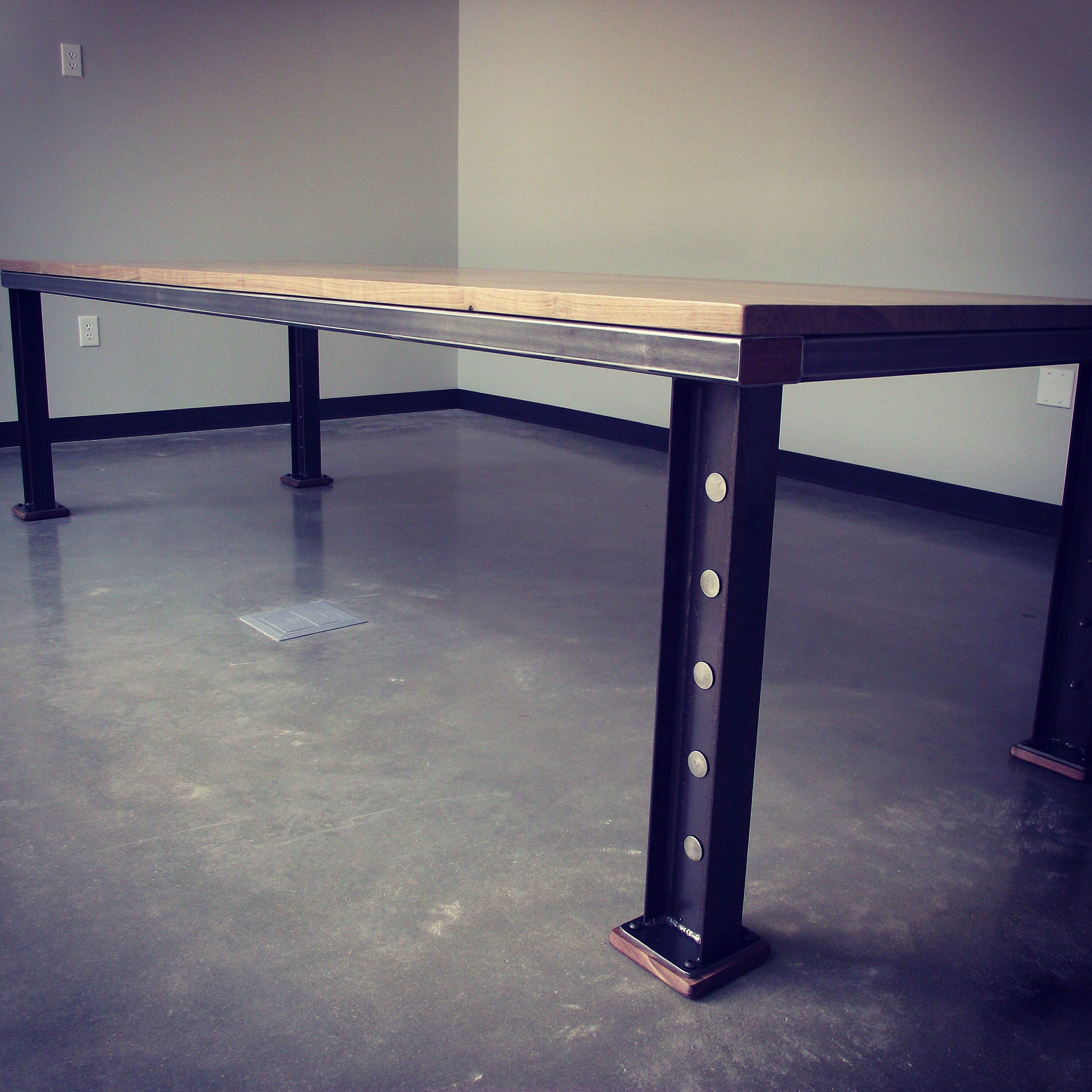 Magnervision Design Build With Alec Barrows Of Mettle 10ft Conference Table For Brookwood With Images Industrial Conference Table Industrial Table Steel Beams