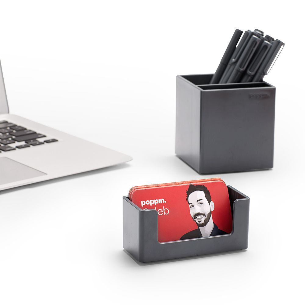 cool office supplies. Poppin Dark Gray Business Card Holder | Desk Accessories Cool And Modern Office Supplies #