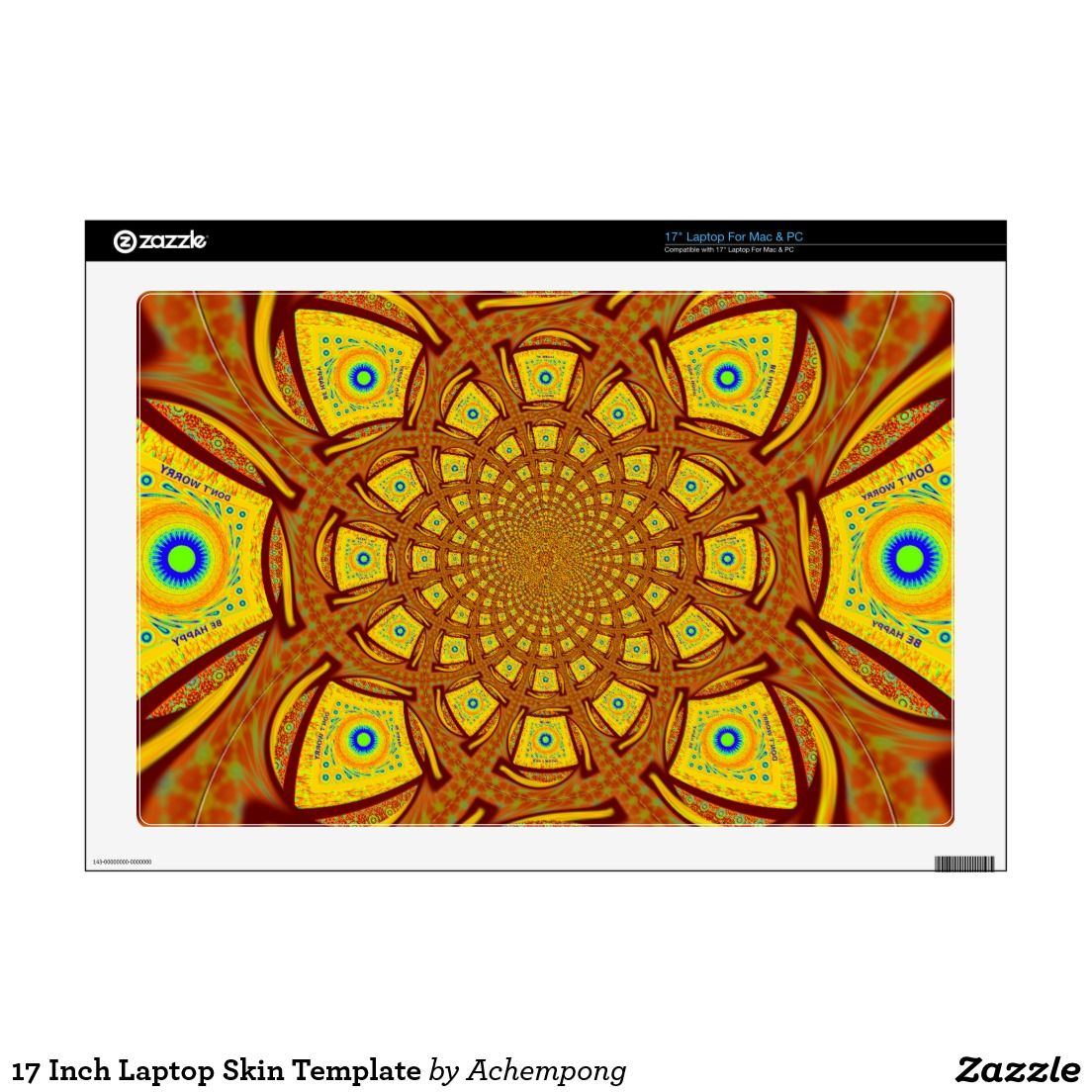 17 Inch Laptop Skin Template #Golden #red #Africa #traditional ...