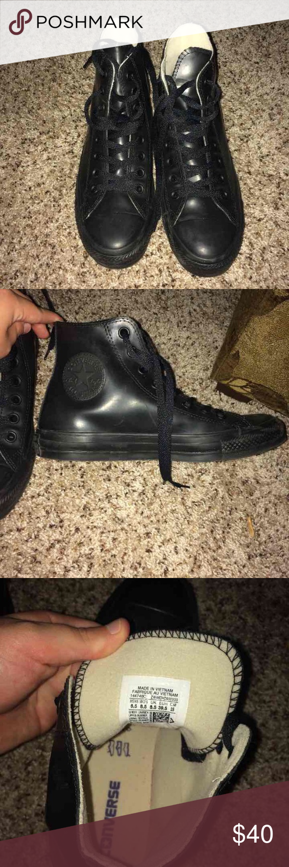 Black converse Black rubber converse. Only worn twice. Willing to negotiate!! Unisex men's 6.5 women's 8.5!! Converse Shoes Sneakers