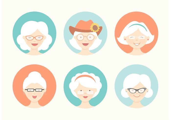 Free Funny Grandma Avatar Vector Set Cartoon Character Design Grandma Funny Graphic Design Photography