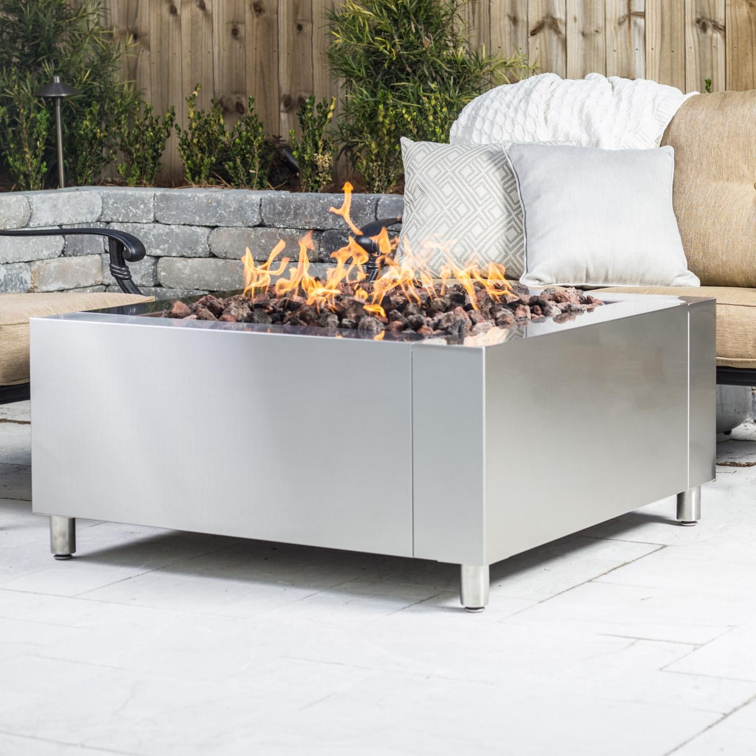 This Alpine Flame 42 Inch Stainless Steel Square Fire Pit Comes Complete With 24