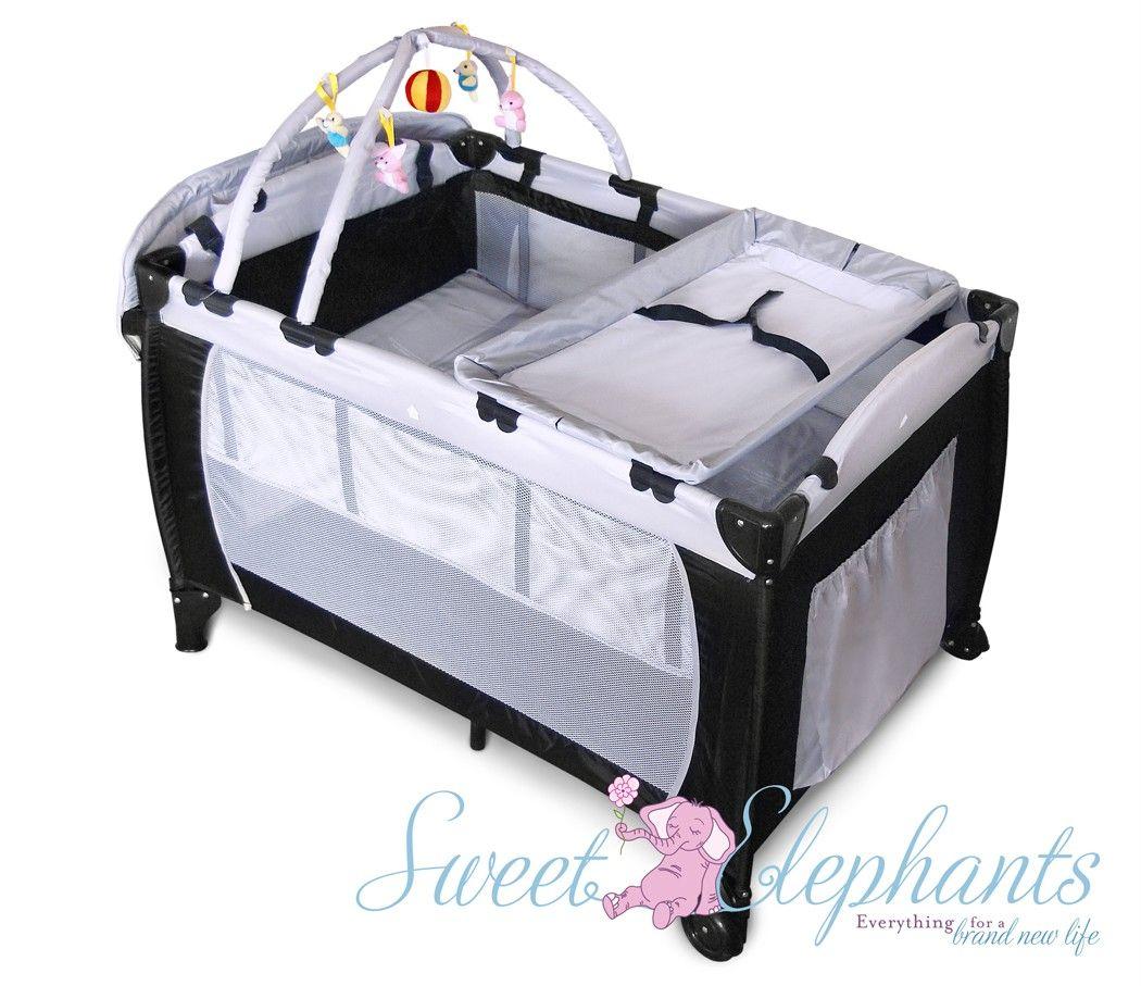 Baby bed portable - 7 In 1 Portable Cot Bassinet Cot Playpen Rocker Storage Pockets