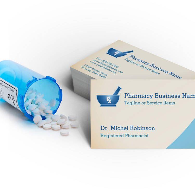 Pharmacy Mortar Pestle Logo Chemist - Cream Blue Business Card ...