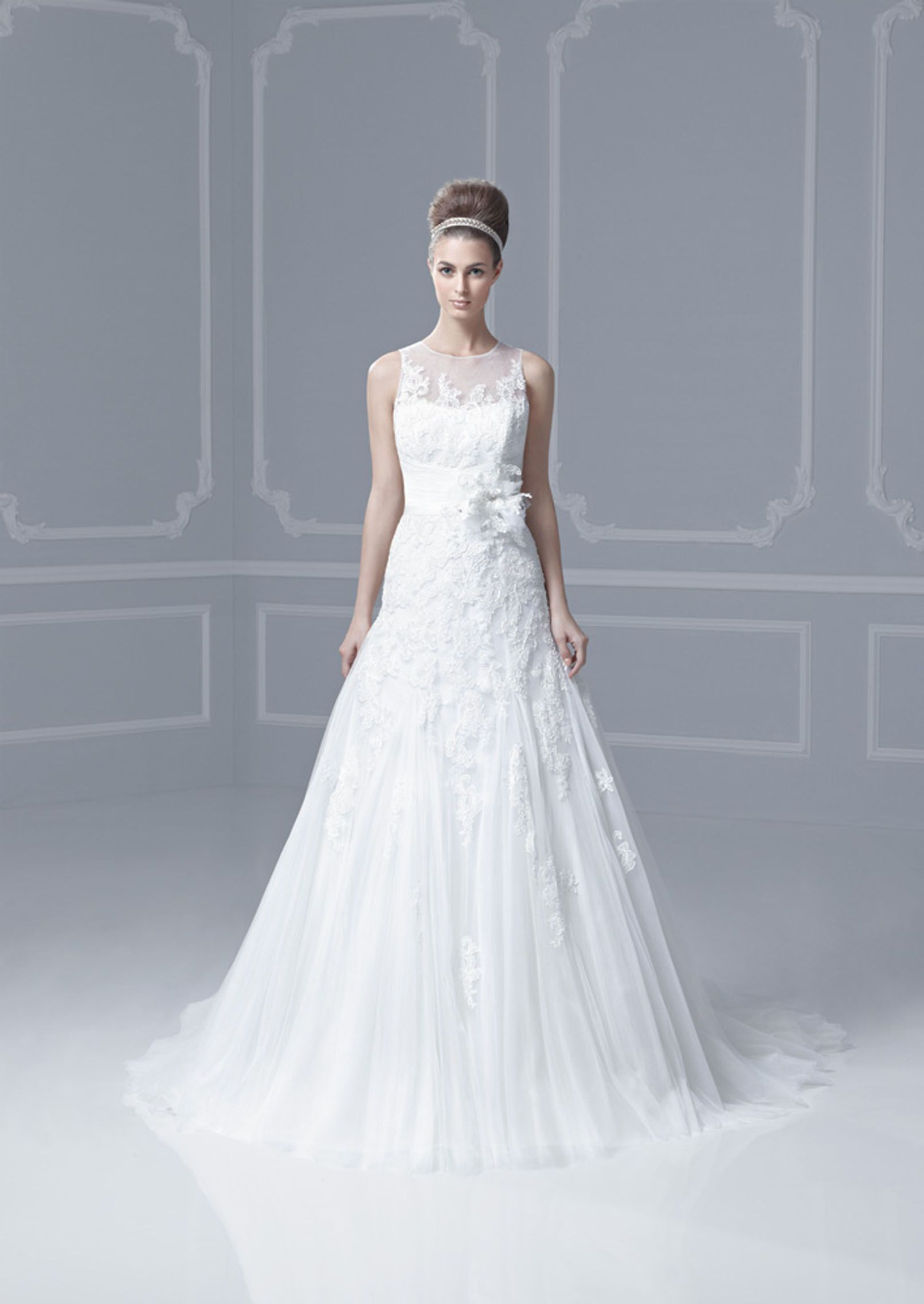 Enzoani Blue 2013 Fargo - A bigger more floral lace on a fit and ...