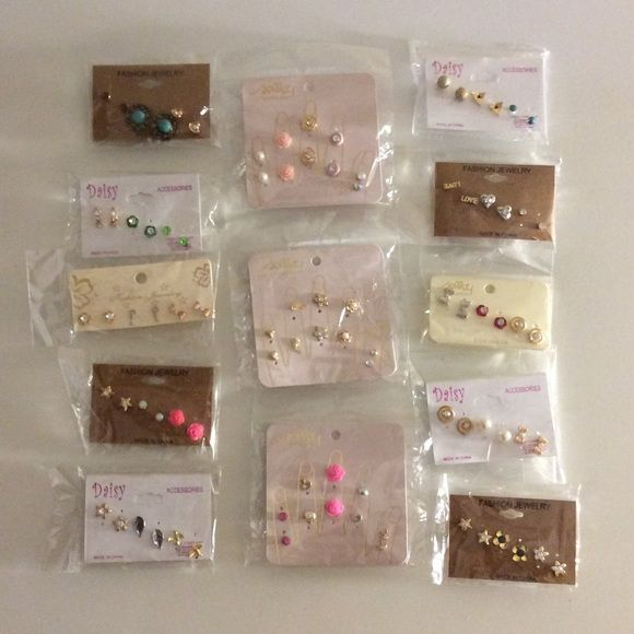 NWT display BUNDLE 45 studs earrings gifts chic This is a bundle set of 45 pairs of stud earrings on display cards. All items are New with Tags, Lead & Nickel Free, and Hypo-Allergenic! You will receive all of the items shown. Items cannot be swapped out or traded for other items in my closet. NOT SOLD INDIVIDUALLY. No Trades! Perfect for Xmas, gifts, or to resale! ER#20 Jewelry Earrings