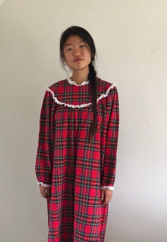 80s Lanz red tartan flannel nightgown white eyelet trim   red plaid ankle  length long night dress   ec9976f24