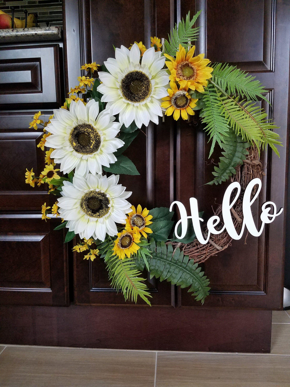 Sunflower Wreath, Wreath for Front Door, Summer Wreath
