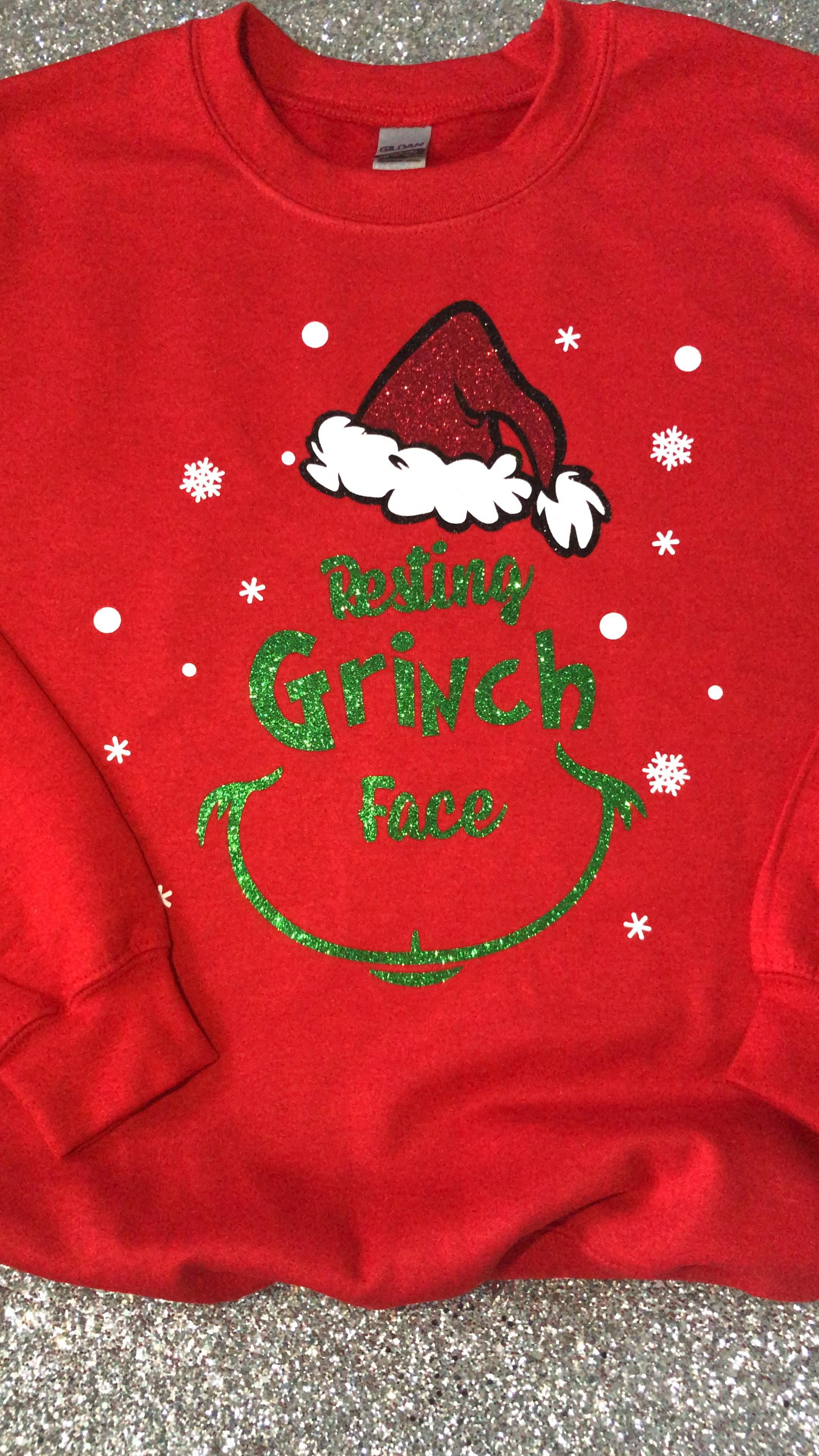 Resting Grinch Face Jumper, Christmas Jumper, Red