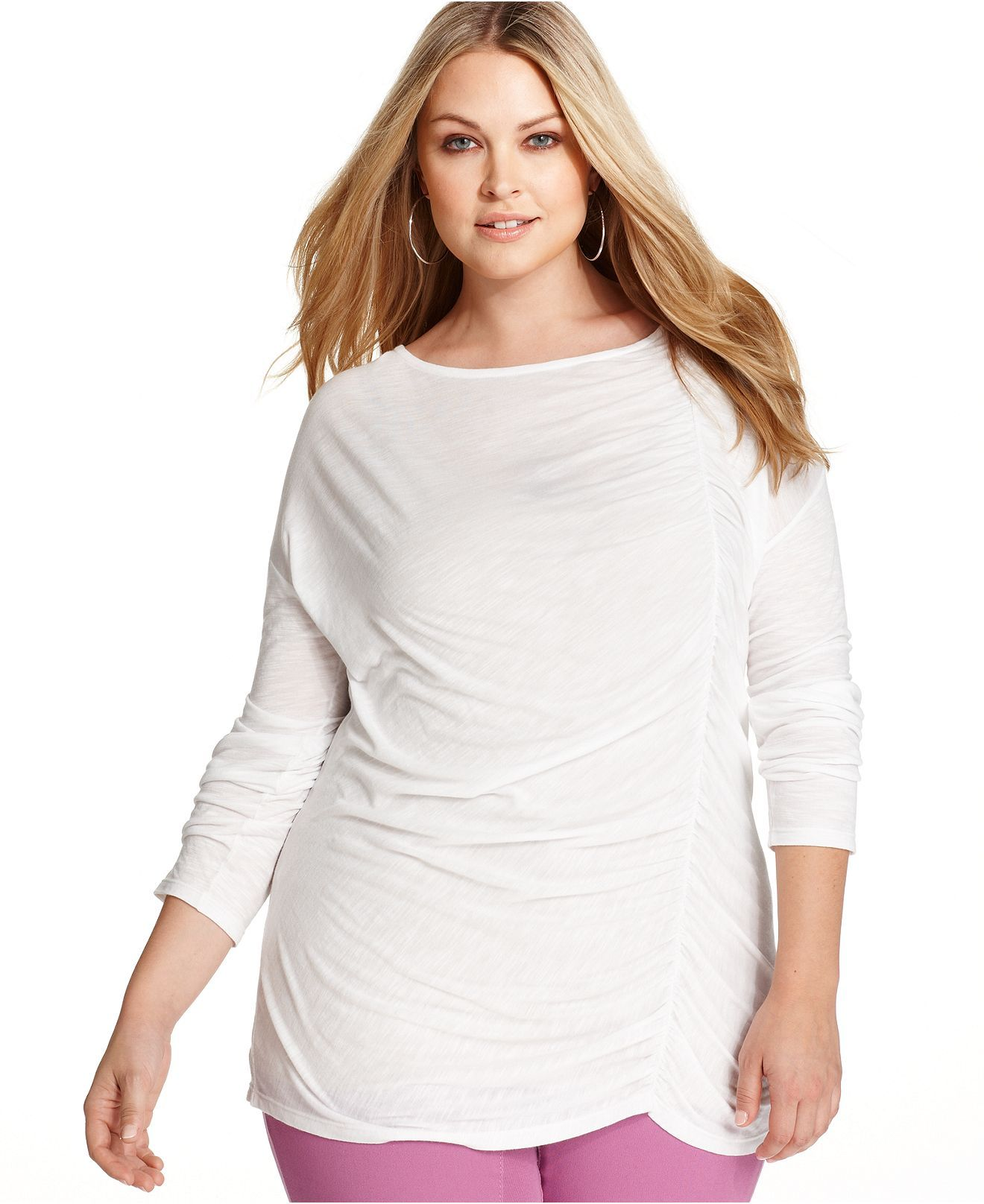 dkny jeans plus size top, long-sleeve ruched - plus size tops