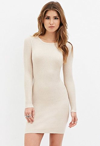 683d234b5f Ribbed Bodycon Sweater Dress