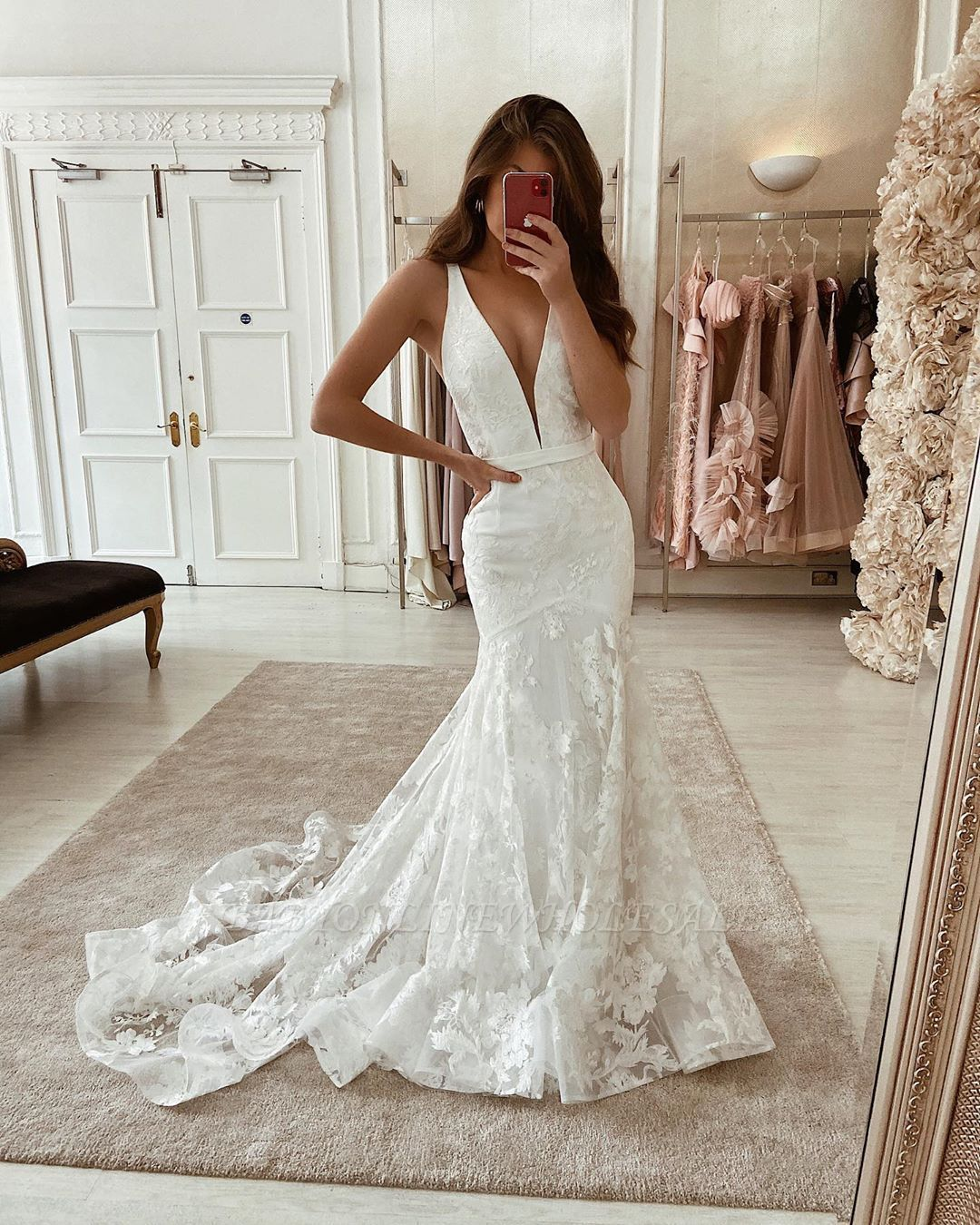 Unique Sleeveless Deep V neck Lace Long Wedding Dresses   Lace ...