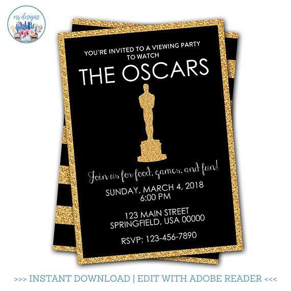 Oscar Party Invitation Editable Oscar Party Invitation Academy