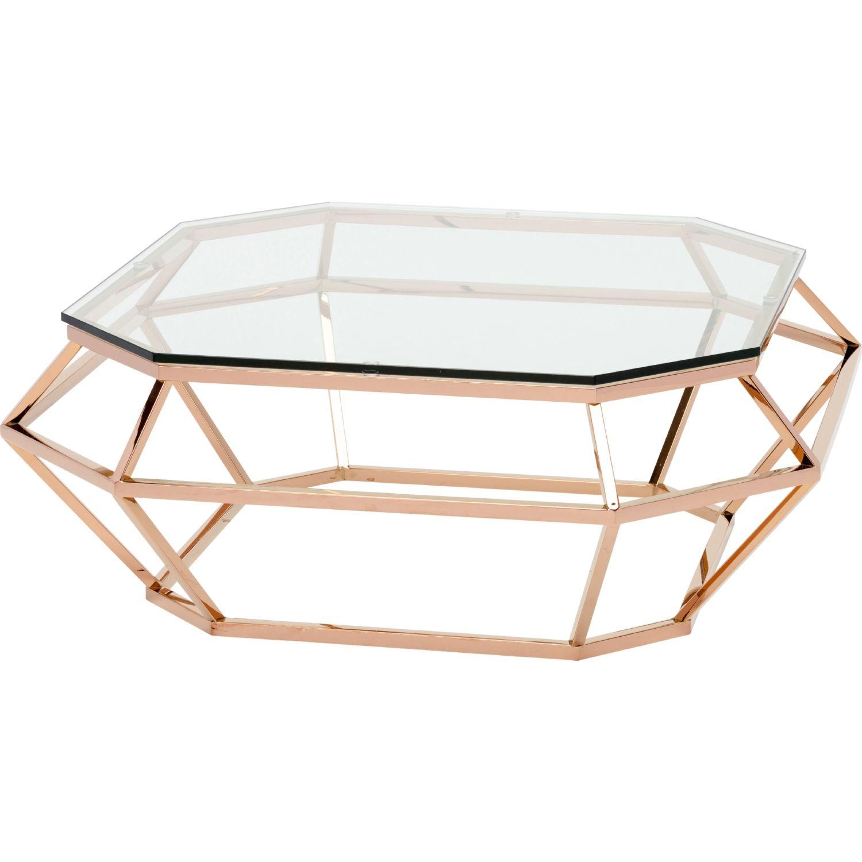 Beautiful Nuevo Modern Furniture HGSX182 Diamond Sq Coffee Table Rose Gold Open  Diamond Shape Base Glass Top