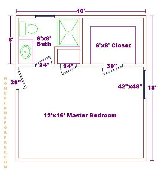 Master bedroom 12x16 floor plan with 6x8 bath and walk in for Bathroom designs 12x8
