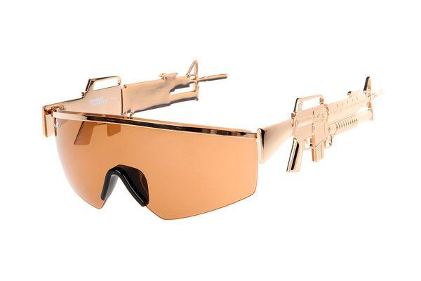 new styles 4930b bad1a Jeremy Scott x Linda Farrow Golden Gun Sunglasses