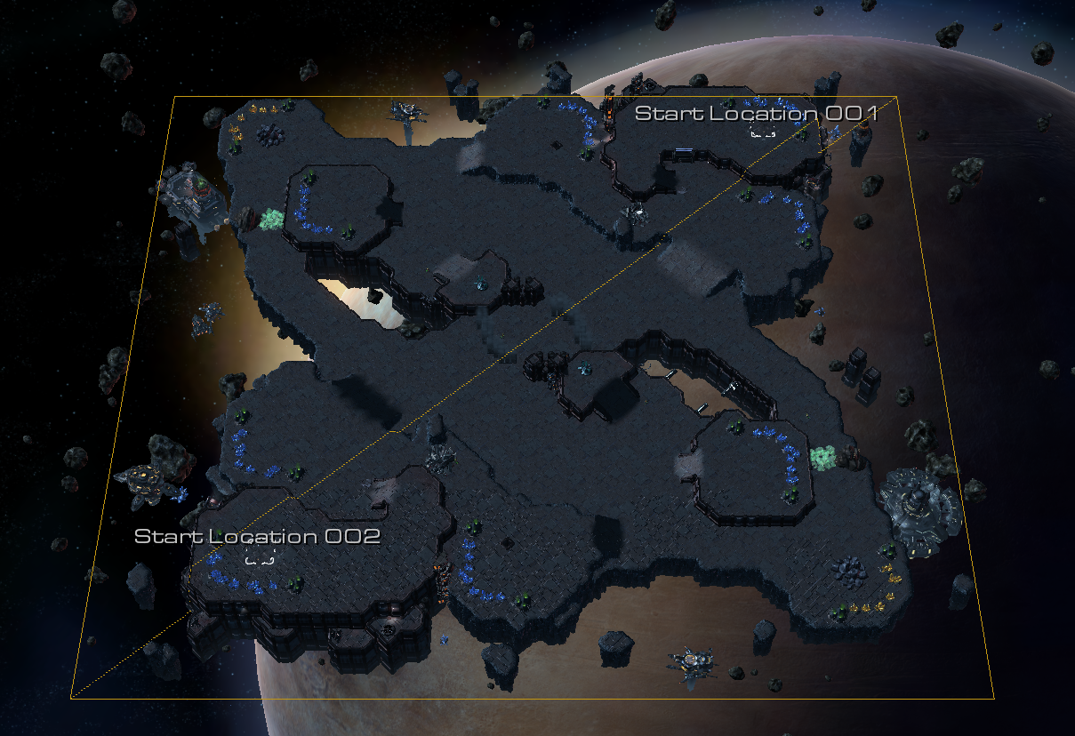 Starcraft game map, space platform | Planetary structures