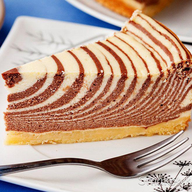 Торт зебра на кефире | Рецепт в 2020 г. | Торт зебра ...