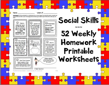 Social Skills Weekly Homework / Worksheets 365 activities Speech ...