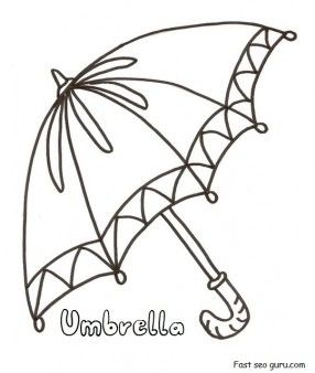 Free Printable Umbrella Coloring In Pages For Preschool Umbrella