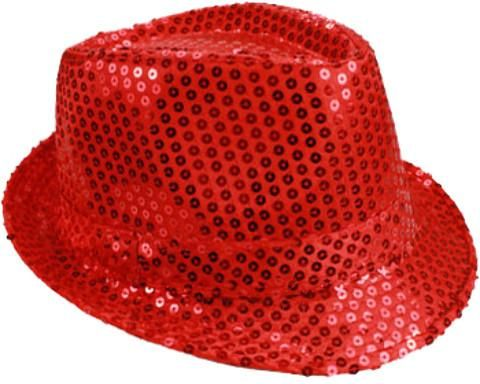 6d4d62841bc Adult Unisex Red Sequin Fedora Hat - 72 Units