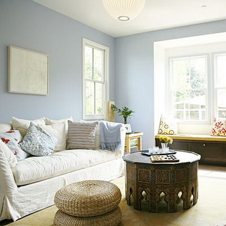 Interior Design Color Ideas For Living Rooms Soft Blue Wall Color Scheme And Modern White Sofa In Small Living