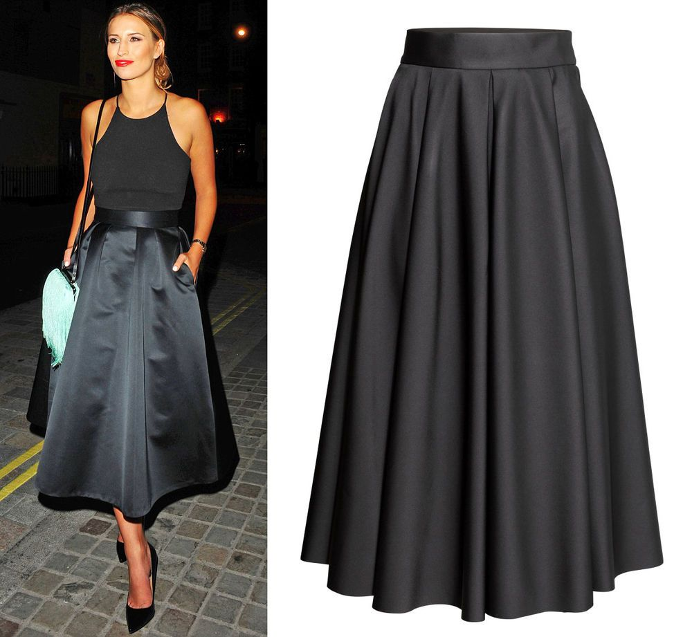 Details about H&M Trend Premium Wide Satin Full Midi Skirt UK 12 ...