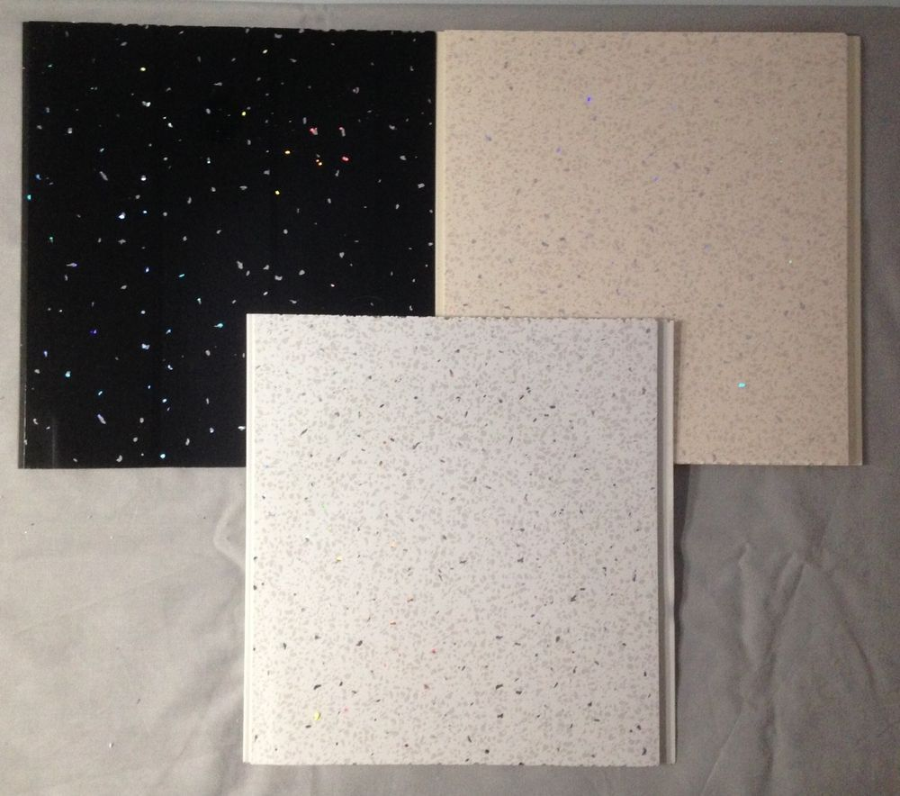 Plastic cladding bathroom walls - 7 For 46 Black White Or Beige Sparkle 8mm Pvc Bathroom Cladding Panel Shower Wet