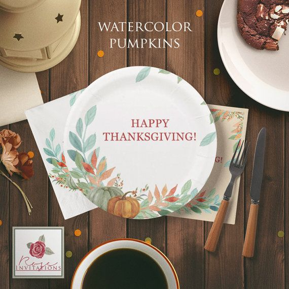Watercolor Pumpkins  Thanksgiving Paper Plates by RoseInvitations