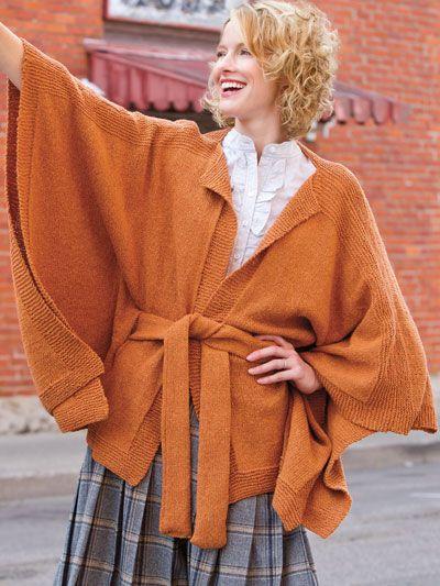 Bellissima Belted Ruana Knitting Pattern Download From E
