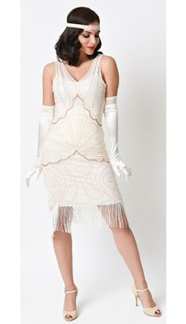 ddbeab962bb Unique Vintage Cream Beaded Vienna Mesh Fringe Flapper Dress
