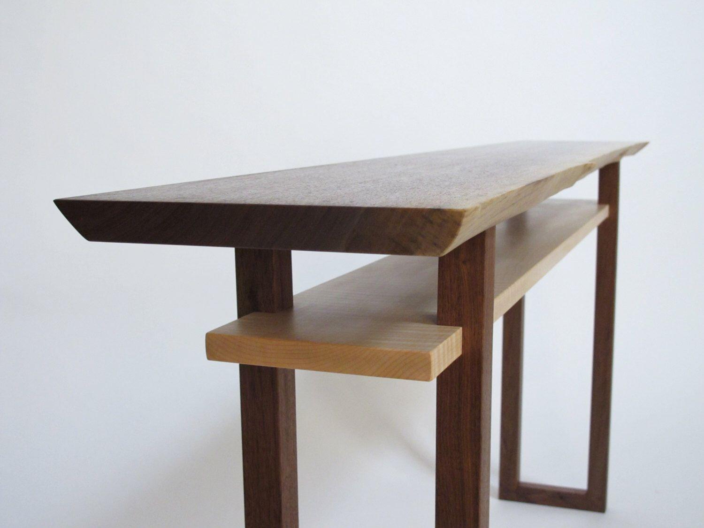 sofa hall table. Live Edge Console Table- Narrow Sofa Table, Hall Wood Slab Table