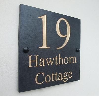 Details About Engraved Natural Slate House Door Sign Name Number