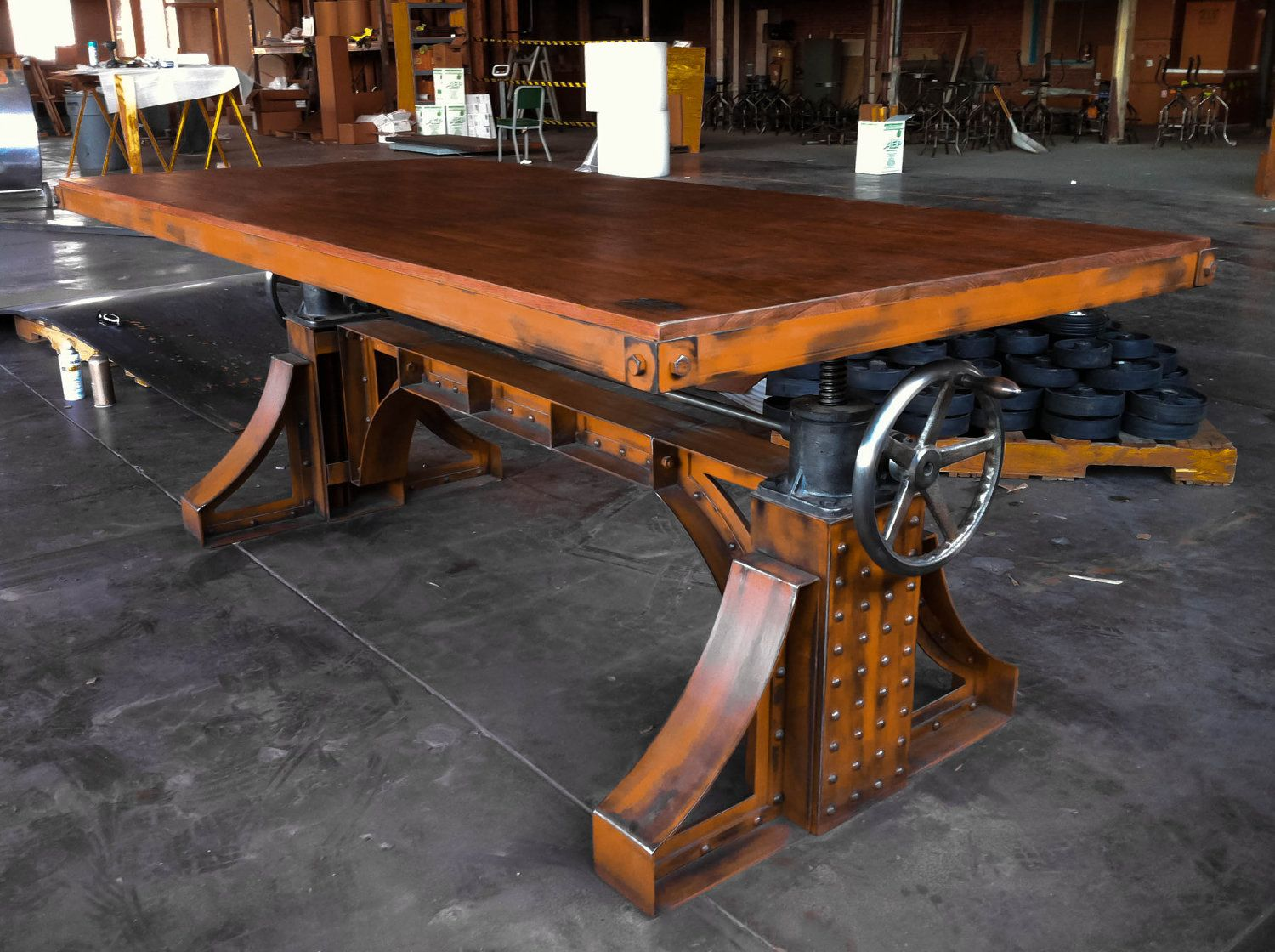 Adjustable industrial dining table - Fabulous Ly Expensive Vintage Industrial Crank Desk Bronx Adjustable Height Table 14 950