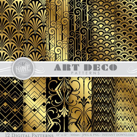 6a1a73e19fd51 ART DECO Digital Paper: Black & Gold Art Deco Pattern Prints ...